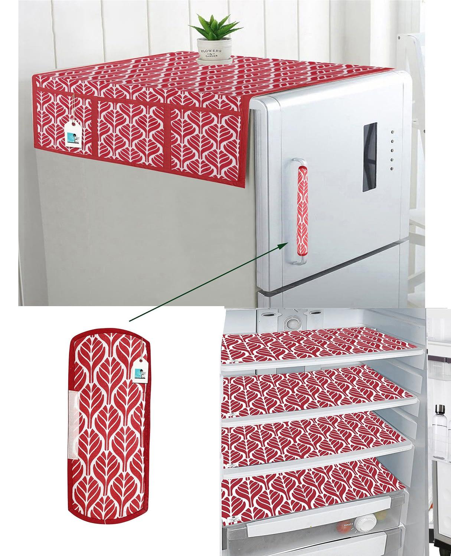 Combo of 1 Cotton Fridge Top Cover, 2 Cotton Fridge Handle Covers + 4 Fridge Mats (Red, 7 Pcs Set)