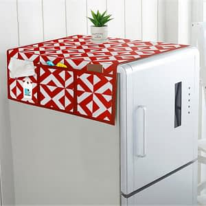 Combo Set of Cotton Fridge Top Cover with 6 Pockets and 2 Pc Cotton Fridge Handle Cover (Red, 3 Pcs Set)