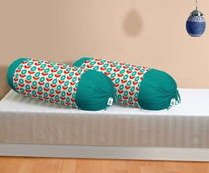 100% Cotton Printed Bolster Cover Set of 2 Pcs (Size : 16X32 Inches, Color-Sky Blue)