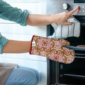 100% Cotton Printed Oven Gloves Set of 2 Pcs (Size : 6X12 Inches, Color-Red)