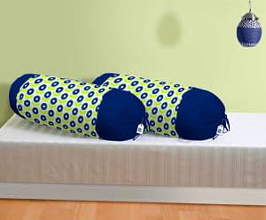 100% Cotton Printed Bolster Cover Set of 2 Pcs (Size : 16X32 Inches, Color-Blue)