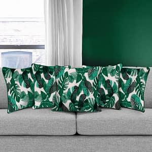 100% Cotton Printed Cushion Cover (Size : 12X12 Inches, Color-Green)