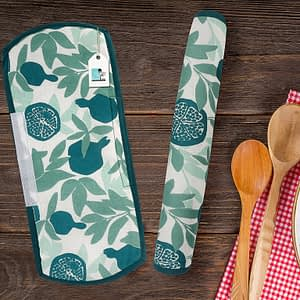 100% Cotton Printed Refrigerator Handle Cover Set of 2 Pcs (Size : 6X14 Inches, Color-Blue)