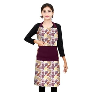 100% Cotton Printed Kitchen Apron (Size : 26X32 Inches, Color-Purple)