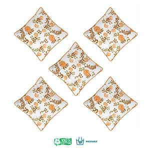 100% Cotton Printed Cushion Cover (Size : 12X12 Inches, Color-Orange)
