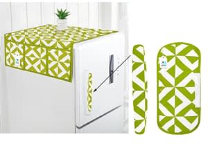 Combo Set of Cotton Fridge Top Cover with 6 Pockets and 2 Pc Cotton Fridge Handle Cover (Green, 3 Pcs Set)