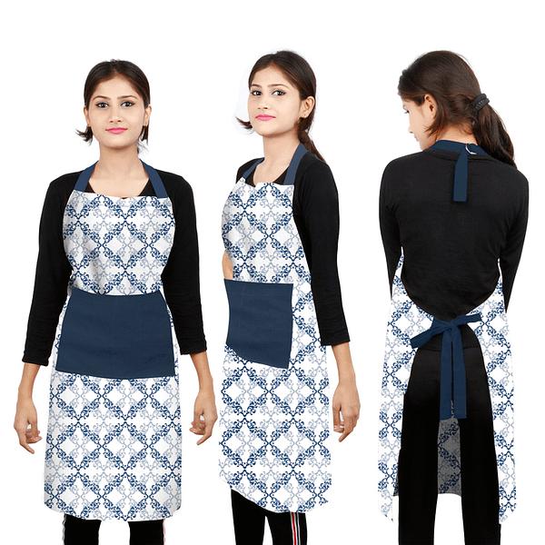 100% Cotton Printed Kitchen Apron (Size : 26X32 Inches, Color-Blue)