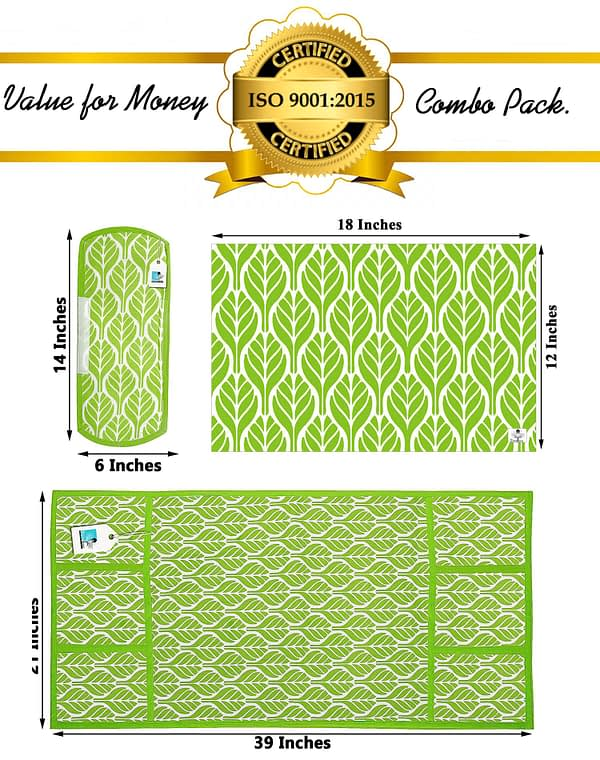 Combo of 1 Cotton Fridge Top Cover, 2 Cotton Fridge Handle Covers + 4 Fridge Mats (Green, 7 Pcs Set)