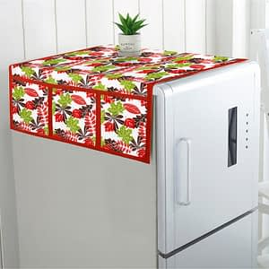 100% Cotton Printed Refrigerator Cover (Size : 21X 39 Inches, Color-Red)