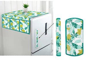 Combo Set of Cotton Fridge Top Cover with 6 Pockets and 2 Pc Cotton Fridge Handle Cover (Sky Blue, 3 Pcs Set)