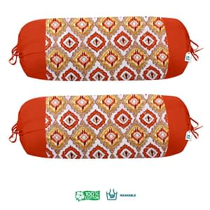 100% Cotton Printed Bolster Cover Set of 2 Pcs (Size : 16X32 Inches, Color-Orange)