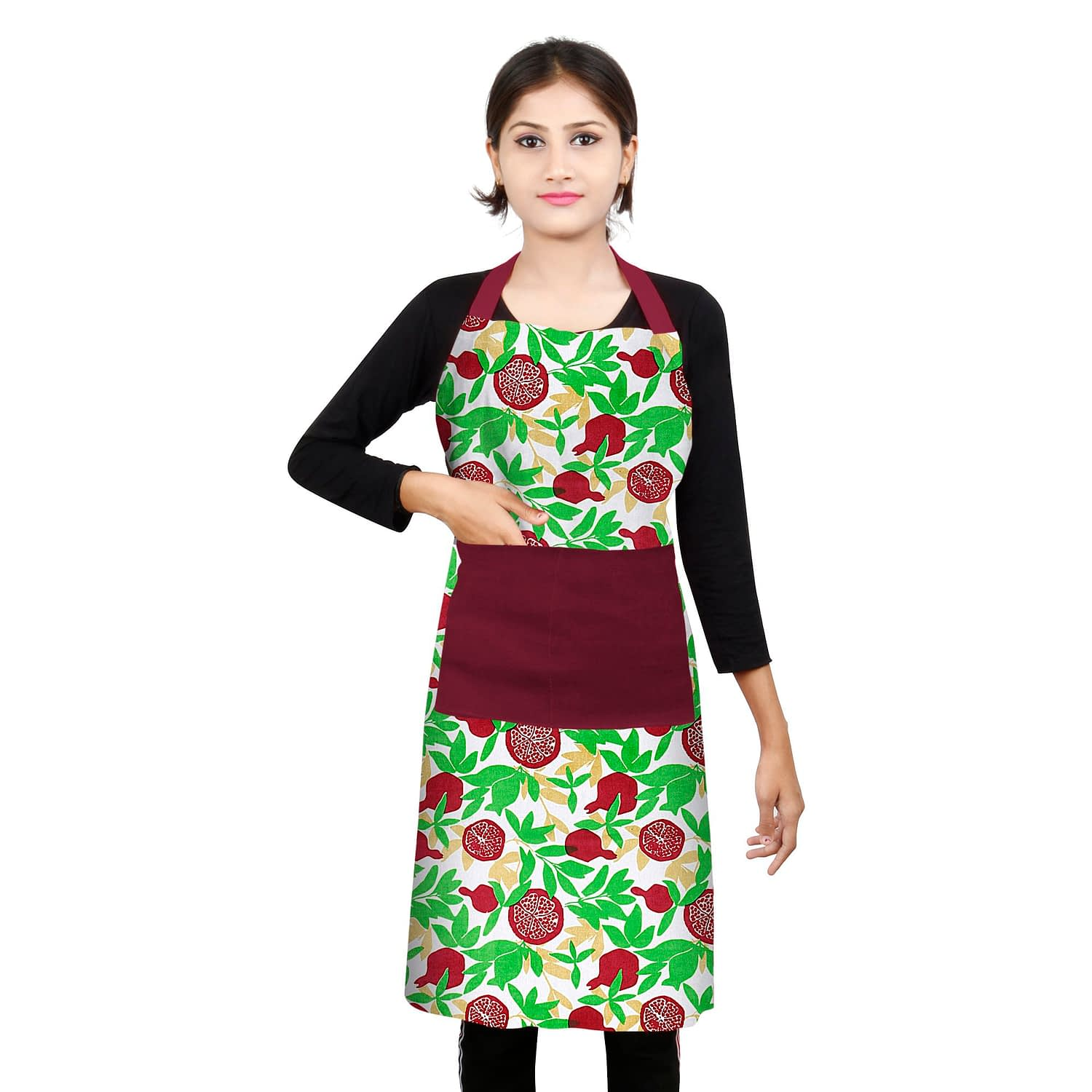 100% Cotton Printed Kitchen Apron (Size : 26X32 Inches, Color-Green)