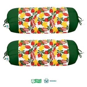 100% Cotton Printed Bolster Cover Set of 2 Pcs (Size : 16X32 Inches, Color-Yellow)