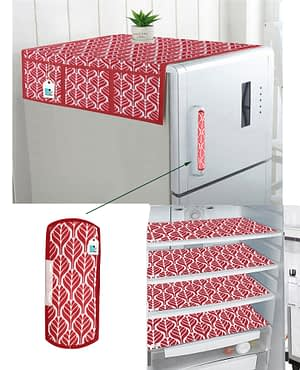 Combo of 1 Cotton Fridge Top Cover, 2 Cotton Fridge Handle Covers + 4 Fridge Mats (Red, 7 Pcs Set)