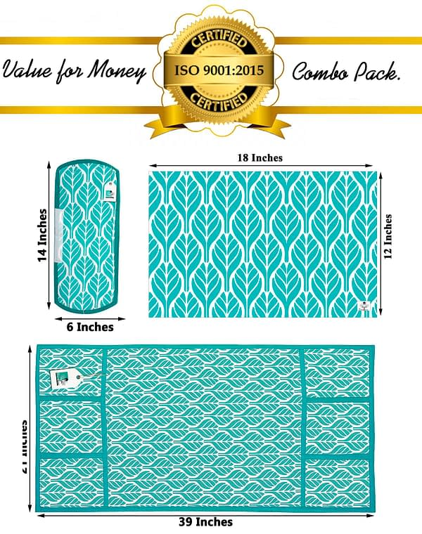Combo of 1 Cotton Fridge Top Cover, 2 Cotton Fridge Handle Covers + 4 Fridge Mats (Blue, 7 Pcs Set)