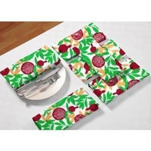100% Cotton Printed Napkin Set of 6 Pcs. (Size : 18X18 Inches, Color-Green)