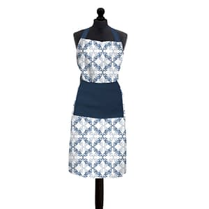 100% Cotton Printed Kitchen Apron (Size : 26X32 Inches, Color-Blue)
