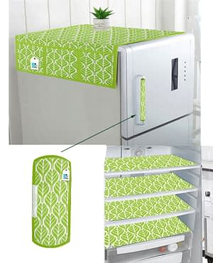 Combo of 1 Cotton Fridge Top Cover, 2 Cotton Fridge Handle Covers + 4 Fridge Mats (Green, 7 Pcs Set)