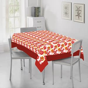 100% Cotton Printed Dining Table Cover (Size : 60X90 Inches, Color-Red)