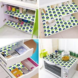 100% Cotton Printed Refrigerator Mat Set of 4 Pcs. (Size : 12x18 Inches, Color-Blue)