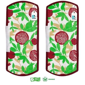 100% Cotton Printed Refrigerator Handle Cover Set of 2 Pcs (Size : 6X14 Inches, Color-Green)
