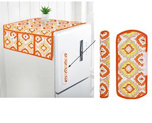 Combo Set of Cotton Fridge Top Cover with 6 Pockets and 2 Pc Cotton Fridge Handle Cover (Orange, 3 Pcs Set)