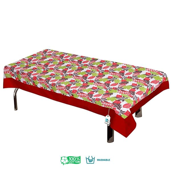 100% Cotton Printed Center Table Cover (Size : 40X60 Inches, Color-Red)