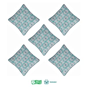 100% Cotton Printed Cushion Cover (Size : 12X12 Inches, Color-Sky Blue)