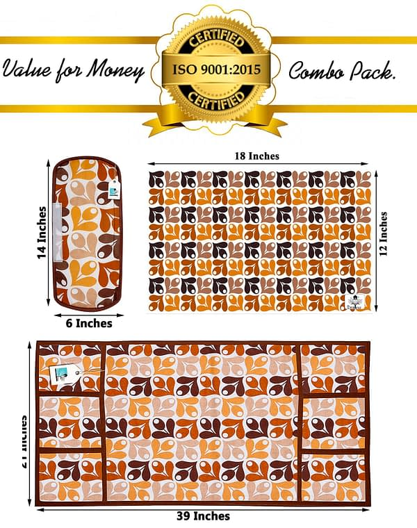 Combo of 1 Cotton Fridge Top Cover, 2 Cotton Fridge Handle Covers + 4 Fridge Mats (Yellow, 7 Pcs Set)