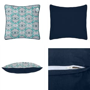 100% Cotton Printed Cushion Cover (Size : 16X16 Inches, Color-Sky Blue)
