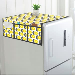 100% Cotton Printed Refrigerator Cover (Size : 21X 39 Inches, Color-Yellow)