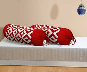 100% Cotton Printed Bolster Cover Set of 2 Pcs (Size : 16X32 Inches, Color-Red)