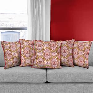 100% Cotton Printed Cushion Cover (Size : 12X12 Inches, Color-Red)
